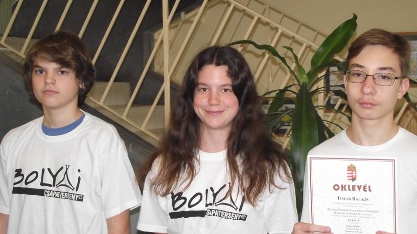 Bolyai matematika csapatverseny 4. helyezést elért csapata a 8. évfolyamon