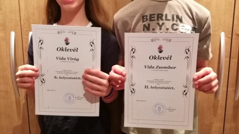 Pálmai Lóránd matematika versenyen Vida Zsombor 6.a 2., Vida Virág 6.a 6. lett